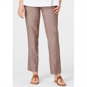 J. Jill Love Linen Pull-On Pants Brown Medium